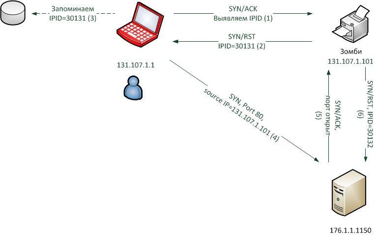 Idle-сканирование (порт на сервере открыт)